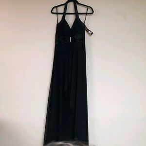 Black Formal Halter Top Dress